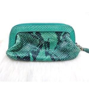 Henri Bendel Python Leather Small Cosmetics Bag